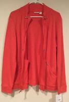 Croft & Barrow Womens Long Sleeve Full Zip Light Weight Jacket Coral Size L