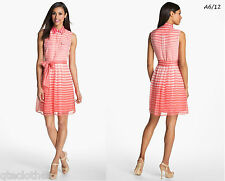 VINCE CAMUTO $179 NEW Sexy Pink Sheer Chiffon Striped Belted Shirt-Dress 14 QCO