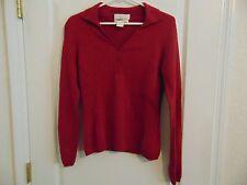 Women's Generra Collared V-Neck 100% Cashmere Cranberry 3 Button Sweater-M
