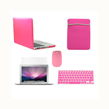 "5 in 1 Rubberized HOT PINK Case for Macbook PRO 13"" +Key Cover +LCD + Bag +Mouse"