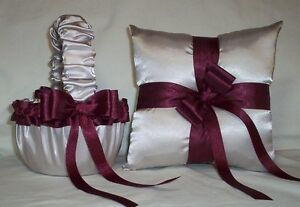 SILVER SATIN / BURGUNDY TRIM FLOWER GIRL BASKET & RING BEARER PILLOW