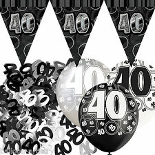 Black Silver Glitz 40th Birthday Flag Banner Party Decoration Pack Kit Set
