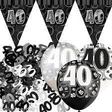 Black Silver Glitz 40th Birthday Flag Banner Party Decoration Pack Kit Set