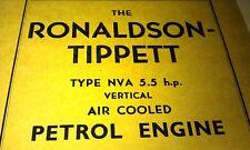 1957 RONALDSON TIPPETT Type NVA 5.5hp Petrol  Engine Instruction  Book