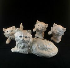 Vintage Persian White Cat KITTENS Statue Ceramic Planter Figurine FREE SHIPPING
