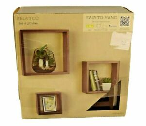 Floating Wall Mount Square Cube Shelves Set of 3 Espresso By Melannco