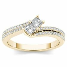 Genuine 0.50 Carat 14K Yellow Gold Round Cut Diamond Halo Engagement Ring
