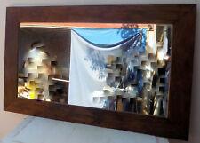 Miroir bois massif assaisonné cm 160x100 vintage rustique suar noyer inde