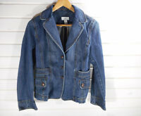 Ann Taylor Loft Women's Size 8 Denim Blazer Blue Jean Jacket 100% Cotton EUC CL