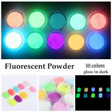 10 Boxes Neon Colors Phosphorescent FLUORESCENT Powder Glow In Dark Nail Art