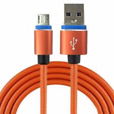 Micro USB Kabel - HQ Ladekabel aus Leder BLACKBERRY DTEK 1m - 1 Meter Orange