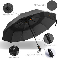 Double Canopy Windproof Umbrella Auto Open And Close Compact Black, FAST US SHIP