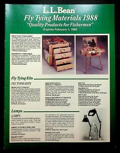 L.L. LL Bean Catalog Fly Tying Materials 1988 Fishing Equipment Gear Hooks Kits