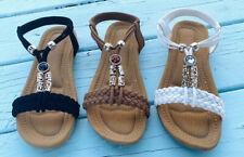 Women Flat Sandals SummerFlip Flops Open Toe Black Tan Fashion adjustable size