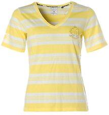 X4168 KITARO Kurzarm T-Shirt V-Ausschnitt Streifen 38 gelb weiß Palm Beach NEU