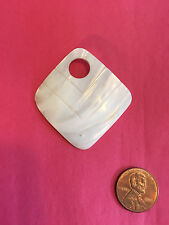 Vintage Mother of Pearl MOP Square Pendant, #17-02, Make Your Own Necklace