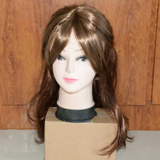 Elegant Women's Brown Long Curly Hair Synthetic Lace Front Wigs Office Lady