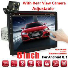 """Universal 1DIN Adjustable 8"""" Android 8.1 Car Stereo Radio GPS Wifi With Camera"""