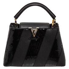 Louis Vuitton Black Sequin Leather Capucines BB Satchel Bag