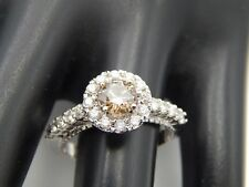 NEW 1.25 tcw GIA Certified Fancy Brown Round Diamond Halo Engagement Ring 14k
