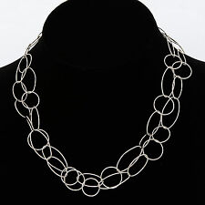 Silver Multi Circles Necklace Double Strand Interlocking