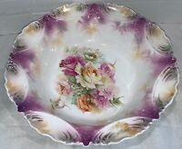 Antique RS Prussia Jeweled Pink Roses  Red Mark Bowl