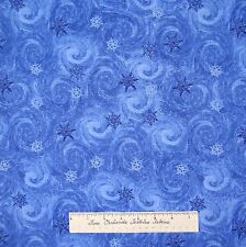 Christmas Fabric - Winter Snowflake Toss Swirl Dark Blue Timeless Treasures YARD