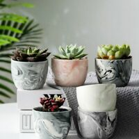 6Pcs Ceramic Plant Pot Marble Succulent Flower Planter Bonsai Box Garden Home