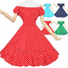 Maggie Tang 50s VTG Polka Dots Housewife Rockabilly Pinup Party Dress R-581