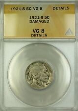 1921-S Buffalo Nickel 5c ANACS VG-8 Details Damaged (Better Coin)