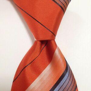 KITON Seven Fold Men's 100% Silk Necktie ITALY Luxury STRIPED Orange/Blue EUC