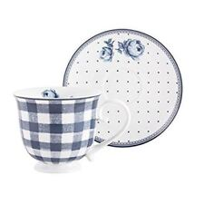 Katie Alice Tea Cup and Saucer Gingham / Spot Design Indigo Collection