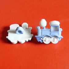 15 Train Transport Kid Novelty Craft Sew On Buttons Cardmaking Blue K820