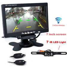 """LCD 7"""" TFT Car Rear View Backup Monitor Wireless Parking Night Vision Camera Kit"""