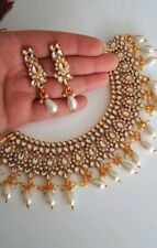 Bollywood Style Ethnique Indien Blanc Gold Tone Kundan Boucles d'oreilles CHOKET TIKKA SET