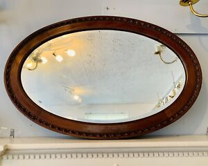 Antique 19th Huge OVAL BEVELLED MIRROR WOODEN FRAME - 88cm By 58cm