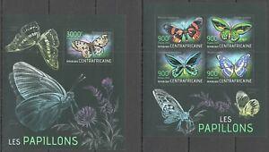 CA603 2013 CENTRAL AFRICA FLORA & FAUNA BUTTERFLIES LES PAPILLONS KB+BL MNH