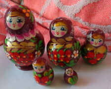 flowers Hand painted Russian Nesting Doll 5 Pcs 3.0""
