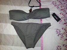 Maillot de bain / Bikini MORGAN taupe soutien gorge bandeau T 44, slip 42. NEUF!
