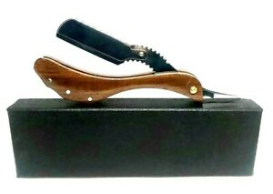 Metal And Wood Razor For Professional Use Barber With Adjustable Screw With Case