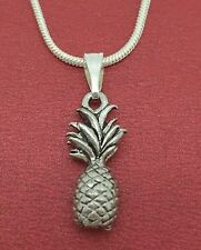 Pineapple Necklace 3D Summer Tropical Fruit Charm Pendant and Chain jewellery