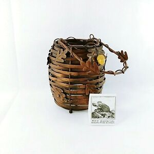 Metal Candle Lantern Basket Copper Toned Acorn Accents