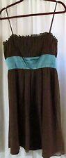 Nine West Dress 12 Silk Brown Straps Knee length Party