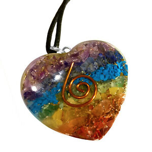 Orgone Energy Generator 7 Chakra Pendant Copper Coil Orgonite Healing Necklace