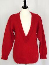 Vintage Mohair Blend Sweater L Red Deep V-Neck Christina Grant