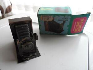 Vintage Die Cast Miniature Pencil Sharpener Camera No. 9623 with box