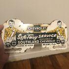 Vintage Chevrolet Safe-T-Way Service Metal License Plate Topper Miami Fl Sign