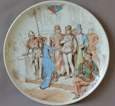 French Religious Majolica Joan of Arc Plate by Creil & Montereau Charles VII