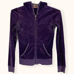 "Juicy Couture Hoodie ""Choose Juicy"" LA Purple Velvet Tracksuit Top Women Size S"