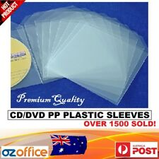 PREMIUM 100 x CD DVD Clear Plastic Sleeves + Sleeve Flap Hold 1 Disc Storage